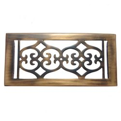 Flower Brass Wall Register with Louver - 4inch x 10inch (5-5/8inch x 11-1/2inch Overall)