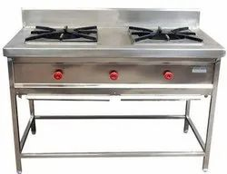 Silver Stainless Steel Indian Two Burner for Hotel