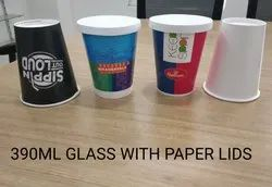 Printed 390ML Paper Glass With Paper Lid