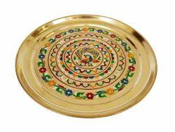 Big Golden Peacock Designed Meenakari Brass Plate