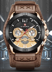 Round Brown NF9162 Naviforce Luxury Chronograph Watch, For Formal