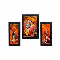 Black Lord Krishna Playing Murli Set of 3 Photo Frame for Wall Decor