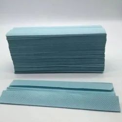 Plain Cotton Premium Absorbent Disposable Blue C-Fold Hand Paper Towel, For Hospital, Size: 12x12 Inches