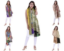 Indian Silk Reversible Patchwork Kantha Shawl