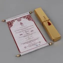 Light pink Wooly Paper Scroll Anniversary Invitation Card