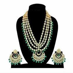 Indian Party Wear Multi Layer Green Color Pendant Necklace Earrings Set