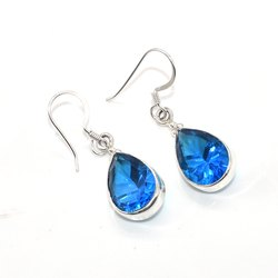 Crystal Quartz Solid 925 Sterling Silver Drop Dangle Earrings