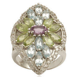 Multicolored Gemstone Silver Ring