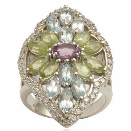 Multicolored Gemstone Silver Ring