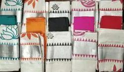 kerala kasavu Hand Block Prints Silver Tissue Set Mundu Kerala Saree With blouse, 6.3 m (with blouse piece)