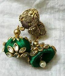 Green Round Silk Thread Kundan Earrings