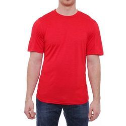Mens Red Solid Round Neck T-Shirt