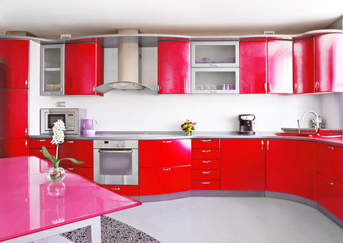 Full Red Modular Kitchen