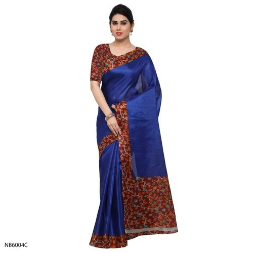 Party Wear Printed Border Tussar Silk Saree, 5.5 M (separate Blouse Piece)