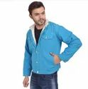 Skupar Blue Men Denim Jacket With Fur