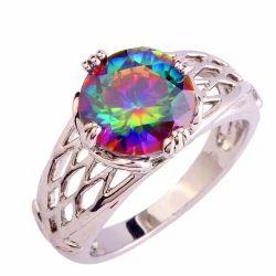 Multicolored Silver Gemstone Ring