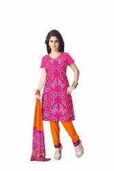 Pink And Orange Color Fancy Gaji Silk Bandhani Suit