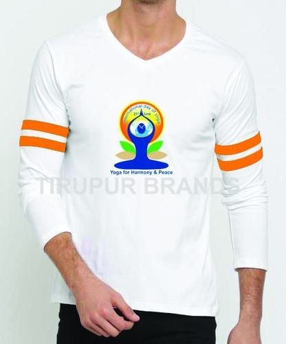 95e73aa1a Cotton EVENT WEAR Men's V Neck Yoga Day T Shirts, Rs 140 /piece | ID ...