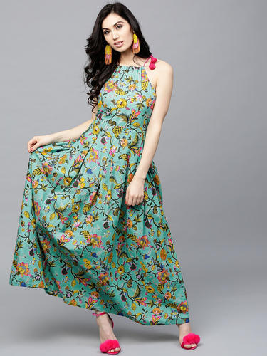 2ae90335 Cotton Off Shoulder Blue Maxi Dress, Rs 550 /piece, Trendphoria ...