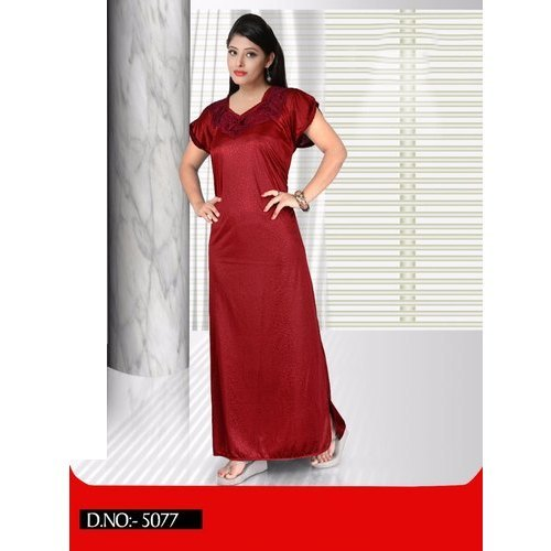 fd871294dbc60 Stitched Plain Ladies Maroon Satin Bridal Nightgown, Rs 110 /piece ...