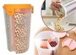 Round D0618_3 in 1 Transparent Sealed Jars Plastic Storage Box