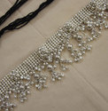 Womens Fashion Sash Belt Beaded Metal Silver Boho