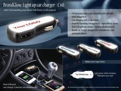 Light Up Car Charger (Dual USB Ports) (2.4A Output):BrandGlow