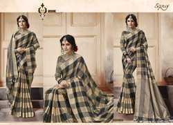 Stylish Light Grey Ethnic Plain Saree