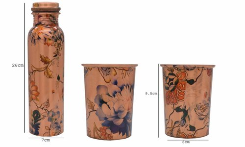 Printed Copper Bottle Glass Set