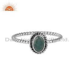 Emerald Gemstone Twisted Design Sterling Silver Rings