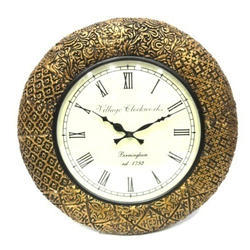 Full Brass Work Wooden Wall Clock