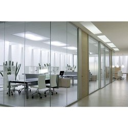 Tempered Glass Frameless Glass Partition, For Offices