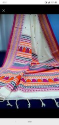 Printed Ladies Party Wear Handloom Cotton Saree, With blouse piece, 6.3 Meter