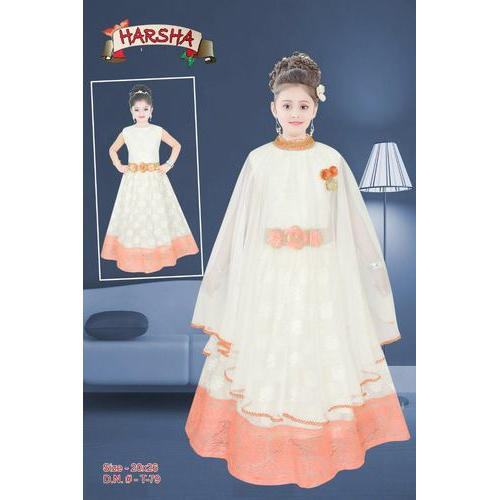 b28ccf20aa Georgette And Net Wedding Wear And Party Wear Kids Poncho Gown