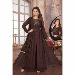 Jiiya Art Chiffon Ladies Brown Palazzo Suit, Dry clean