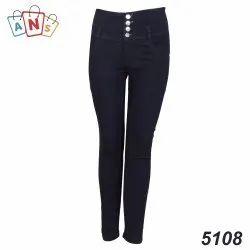 Silky Denim Skinny Ladies Four Button Black Stretchable Jeans