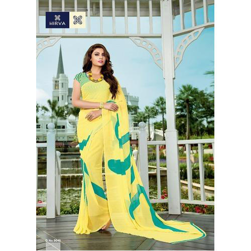 0af8e3cfdc Plain Ladies Yellow Georgette Saree, With Blouse Piece, Rs 390 ...
