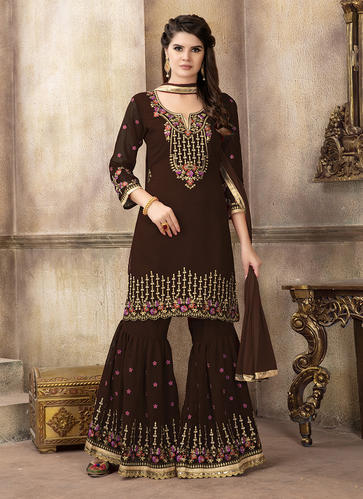 8ee49c307e Georgette Designer Embroidery Sharara Salwar Suit, Rs 2460 /piece ...