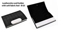 Leatherette Business Card Holder With Soft Fabric Feel, Size: 7x10x1.5 (cm)