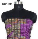 Vintage Recycled Silk Sari Women's Long Strapless Dress DR169s