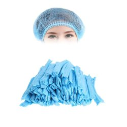 Blue Non Woven Disposable Bouffant Head Cap