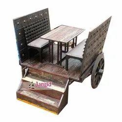 Jangid Art And Crafts Antique Wooden Bull Cart Dining Setup For Restaurant