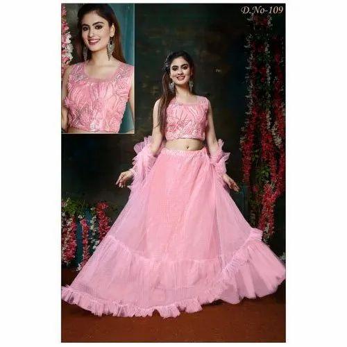Stitched Party Wear Crop Top Net Lehenga Choli 2 5 M Rs 1095 Set Id 22411672112