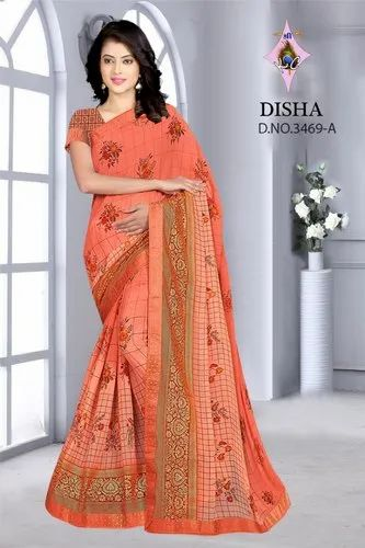 Disha Party Wear Ladies Fancy Printed Cotton Saree, 6.5m (with blouse piece)