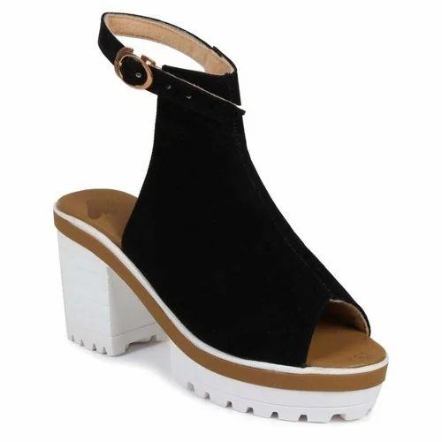 bb512d27deb Stepee Rexine Black Ladies Wedges Sandals
