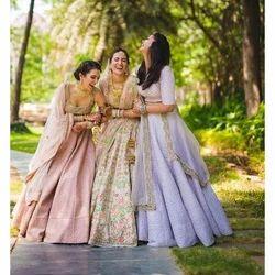 Ladies Stylish Embroidered Semi-Stitched Party Wear Lehenga