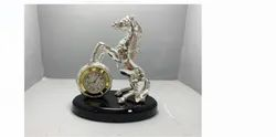Metal Plated Horse With Clock