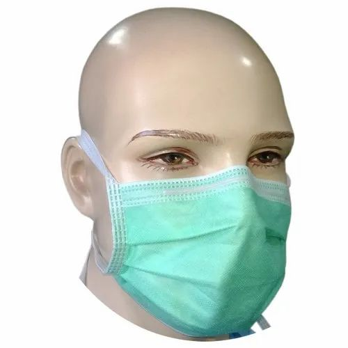 Ply 4 Surgical Green Mask On Tie