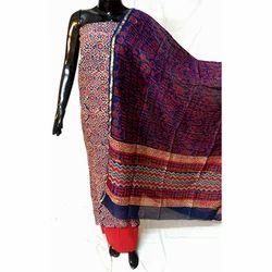 Unstitched Chanderi Block Printed Silk Suit