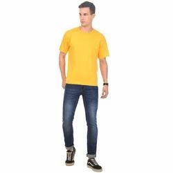 Cotton Mens Yellow Casual T-Shirt